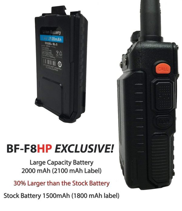 BaoFeng BF-F8HP (UV-5R 3rd Gen) 8-Watt Dual Band Two-Way Radio (136-174MHz VHF & 400-520MHz UHF) Includes Full Kit with Large Battery-3