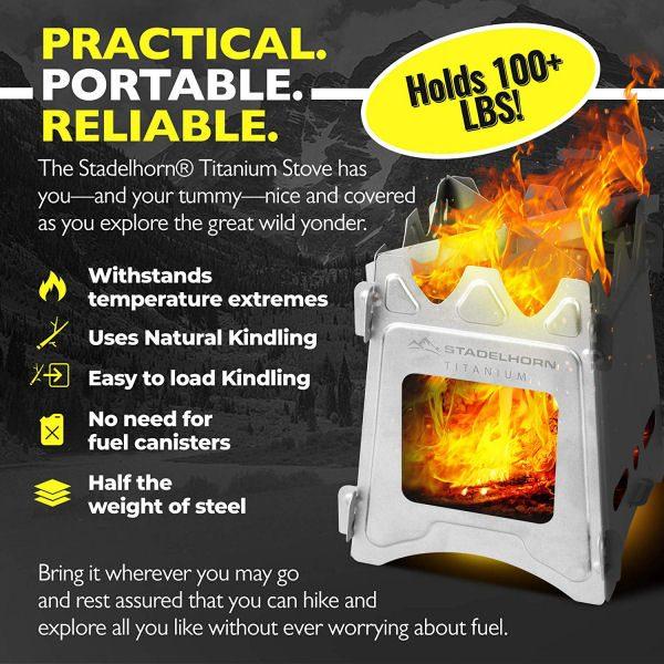 STADELHORN Titanium Minimalist Wood Stove Ultralight 100% Pure Titanium Portable & Foldable for Camping, Backpacking, Hiking, and Bushcraft Survival-2
