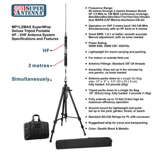 Super Antenna MP1LXMAX Deluxe Tripod 80m-10m HF +2m VHF Portable Antenna with Go Bags ham Radio Amateur-6